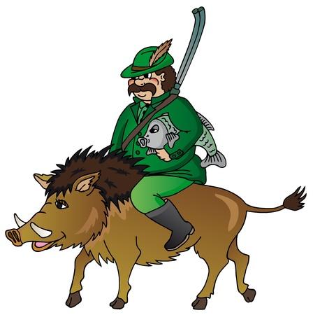 wild boar: Hunter with wild boar - vector illustration