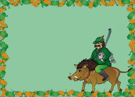 Hunter with wild boar frame - vector illustration
