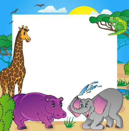 African frame with animals 02 - vector illustration.