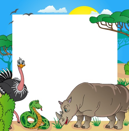 African frame with animals 03 - vector illustration.