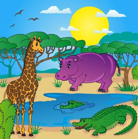 African landscape with animals 01 - vector illustration. Illustration