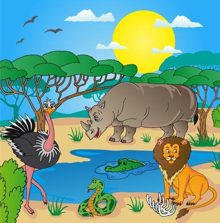 emu: Paisaje africano con animales 02 - ilustración vectorial.