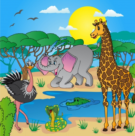 African landscape with animals 03 - vector illustration.