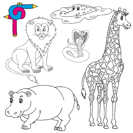 Coloring image wild animals 01 - vector illustration. Vector