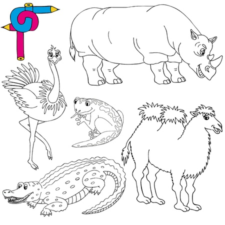 Coloring image wild animals 02 - vector illustration.  イラスト・ベクター素材