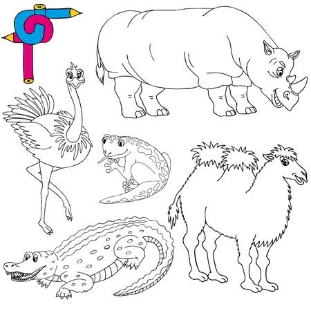 Coloring image wild animals 02 - vector illustration. Illustration