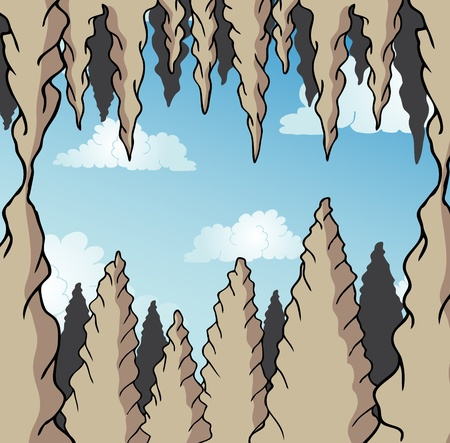 Stalactite cave background - vector illustration.