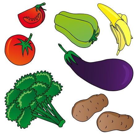 Vegetables and fruits collection 01 - vector illustration.