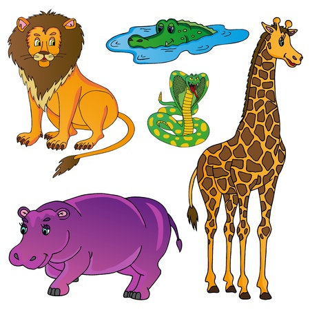 Wild animals collection 01 - vector illustration.