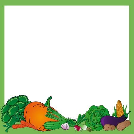pepino caricatura: Vario marco hortalizas - ilustración vectorial.