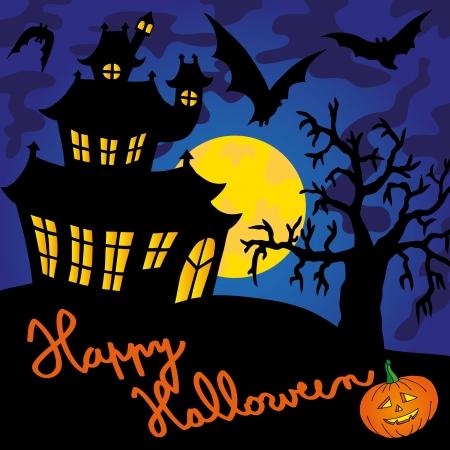 Blue spooky house   Vector