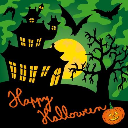 Green spooky house