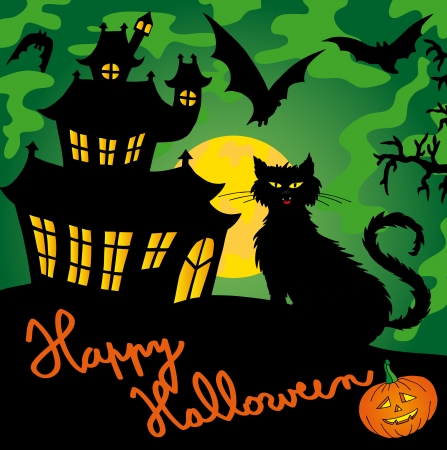 Green spooky house   Vector