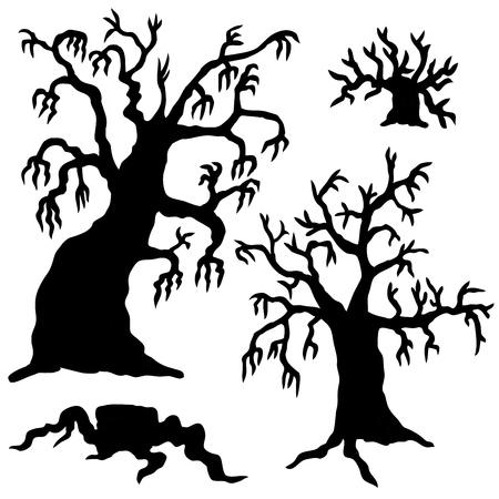 Spooky trees silhouette collection - vector illustration. Illustration