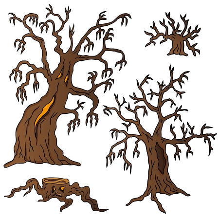 Spooky trees collection - vector illustration.