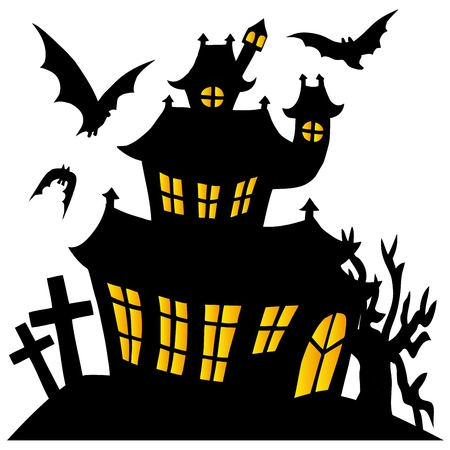 Silhouette spooky house   Illustration