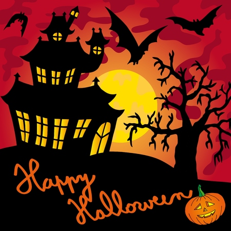 Red spooky house  Illustration