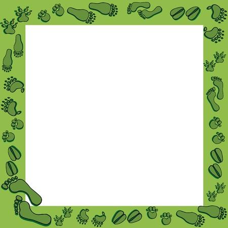 Footprints in green frame - vector illustration. Ilustracja