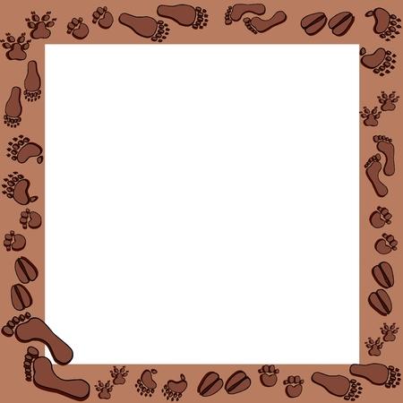 Fotoprints in brown frame - vector illustration.  イラスト・ベクター素材