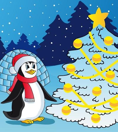 Penguin and christmas tree - vector illustration. Ilustracja