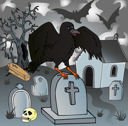 Crow in the cemetery - vector illustration.