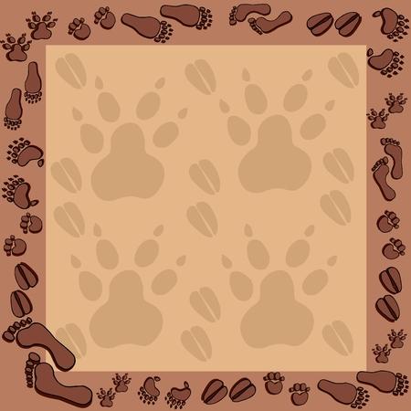 Footprints in brown frame 2 - vector illustration.  イラスト・ベクター素材