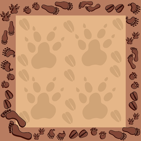 Footprints in brown frame 2 - vector illustration. Ilustracja