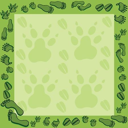 Footprints in green frame 2 - vector illustration.