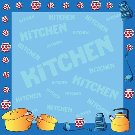 Frame with kitchen dishes - vector illustration. Illustration