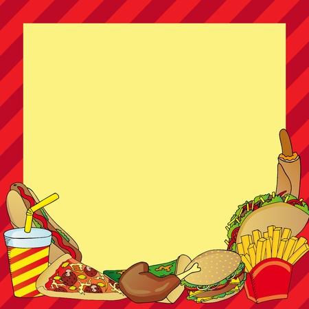 Frame with various fastfood meal - vector illustration. Illustration