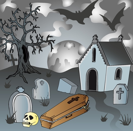 Scenery on cemetery with coffin - vector illustration. Illustration