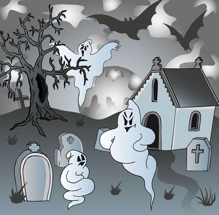 haunt: Scenery on cemetery with ghosts - vector illustration. Illustration