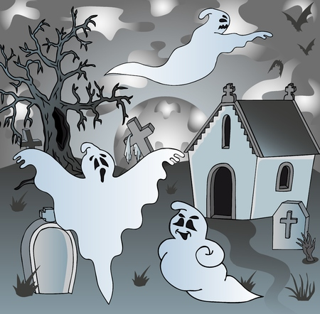 Scenery on cemetery with ghosts 2 - vector illustration. Illustration