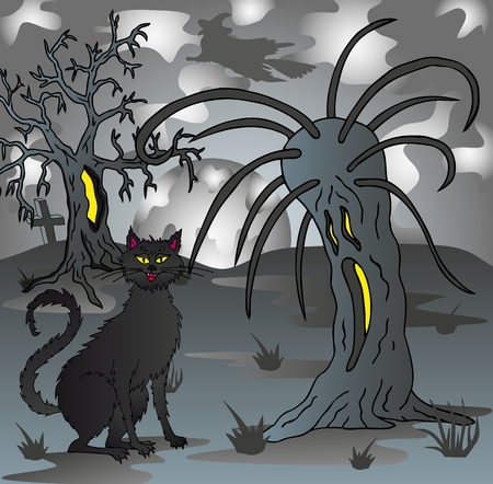 Spooky scenery with cat - vector illustration.
