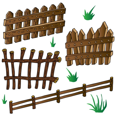 Woods fences collection - vector illustration.  イラスト・ベクター素材
