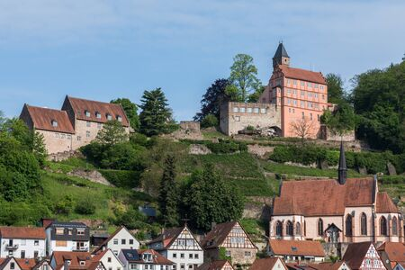 View at the small town Hirschhorn and castle, Odenwald, Hesse, Germany