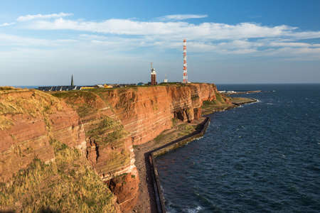 Helgoland, view of the cliff coast with lighthouse, North Sea, Schleswig-Holstein, Germany