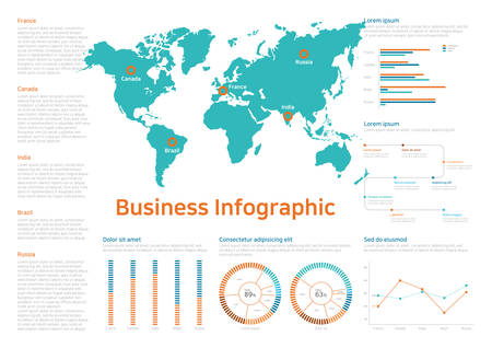 Business chart infographics template. Vector