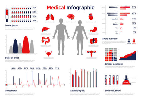 Medical Infographic set with charts and other elements. Vector