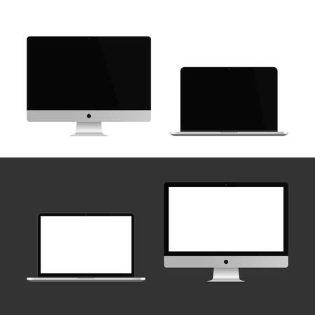 Realistic Computer, Laptop Set, Device Mockup Vector.