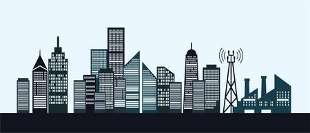 Flat building and city illustration, dark color