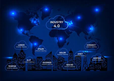 Internet Industry 4.0, digital night view