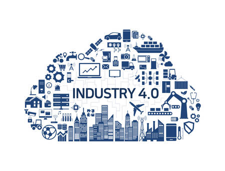 Internet of things (IoT) and cloud network concept,Industry 4.0