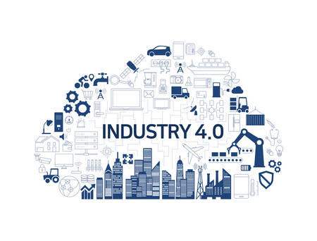 Internet of things (IoT) and cloud network concept, Industry 4.0