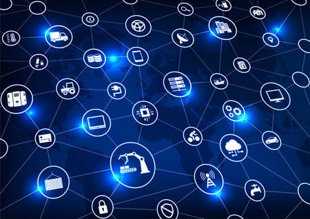 Industrie 4.0, Internet des objets (IoT) et mise en réseau, connexions réseau