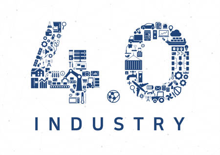 Industry 4.0 vector illustration background. Internet of things concept