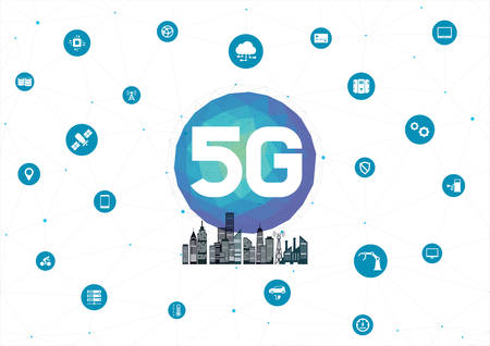 5g network, smart city with icons of town infrastructure. High speed, 5g Internet Connection, wireless internet concept