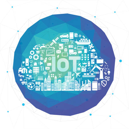 Internet of things IoT and networking concept for connected icon. Cloud shape. Vektorové ilustrace