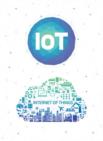 Internet of things IoT and networking concept for connected devices icon. Cloud shape.