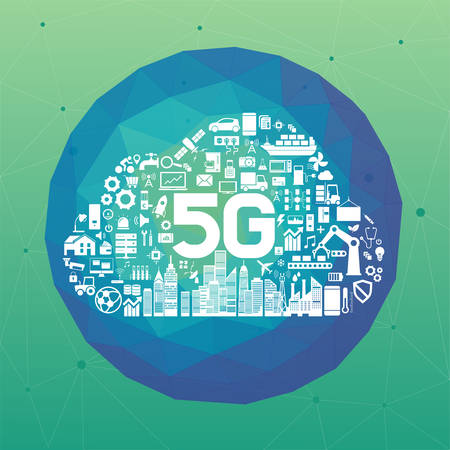 5g network icons of Cloud shape. High speed, 5g Internet Connection, wireless internet concept